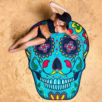 Пляжное покрывало Beach Towel Skull махровое оптом